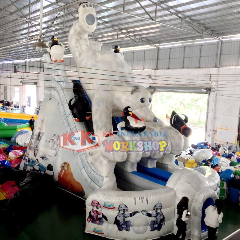Outdoor toys polar bear shape blow up slide for rental