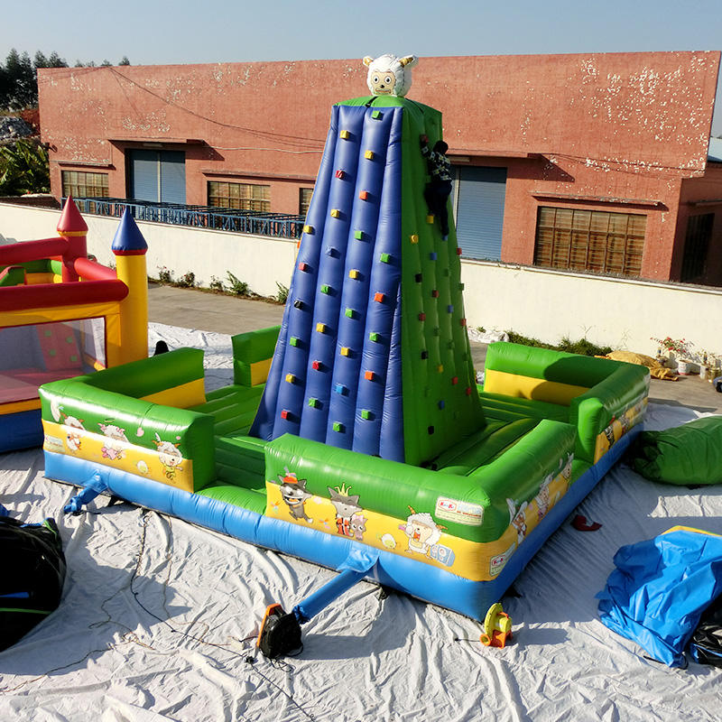 Factory produced outdoor kid park inflatable rock climbing wall