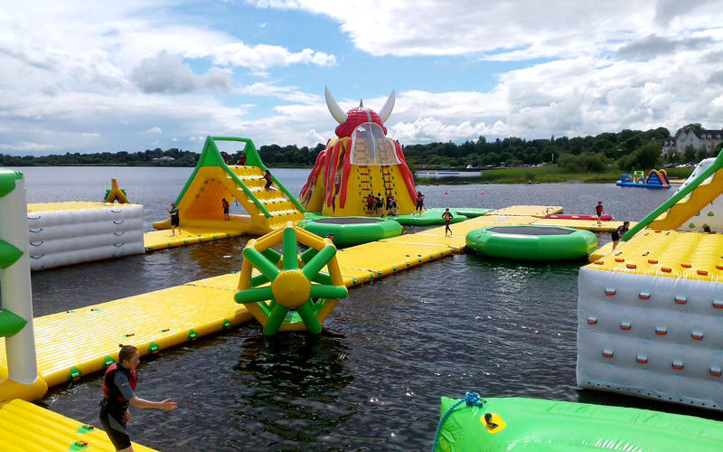 Big water rushed off inflatable equipment for adult
