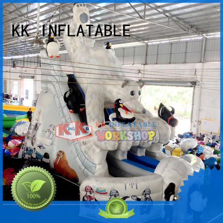 transparent pig inflatable pool slide fire truck shape for playground KK INFLATABLE