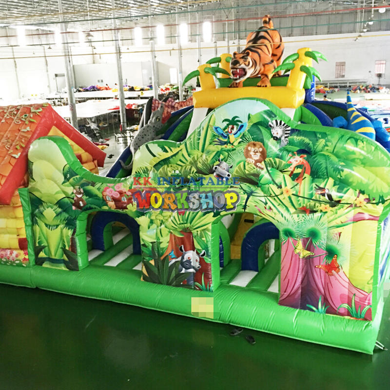 Large Custom Inflatable Jungle Obstacle,Inflatable 3D printing animal slide fun park