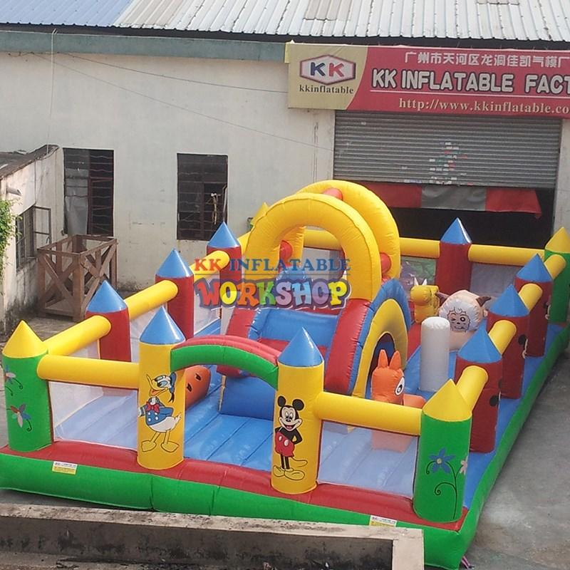 KK INFLATABLE fire truck moon bounce factory direct for playground