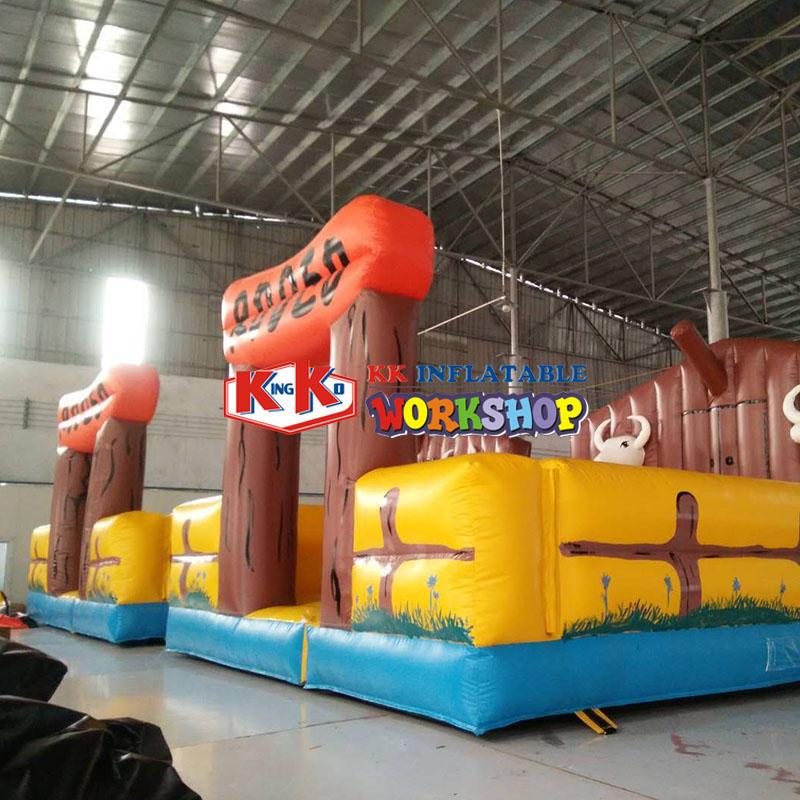 Inflatable air cushion bullfight game
