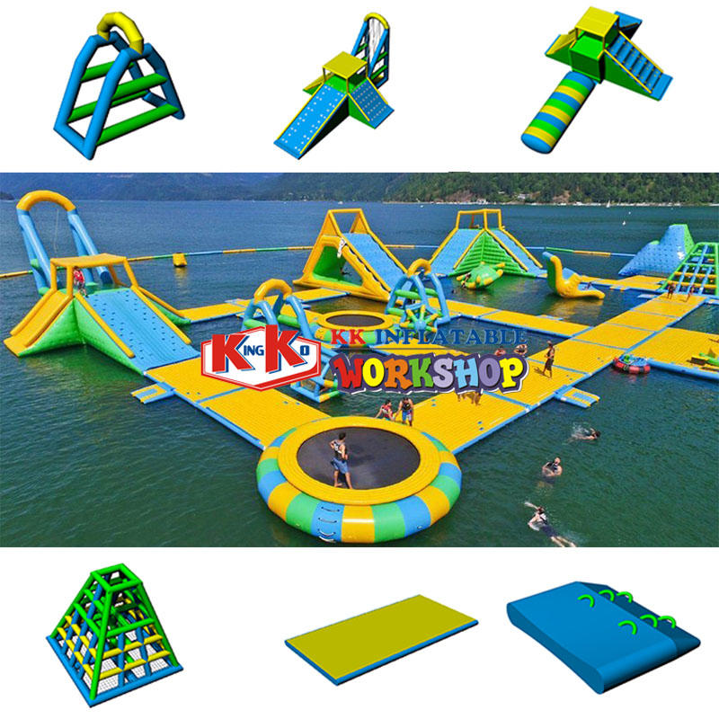 Through combination inflatable amusement water parks