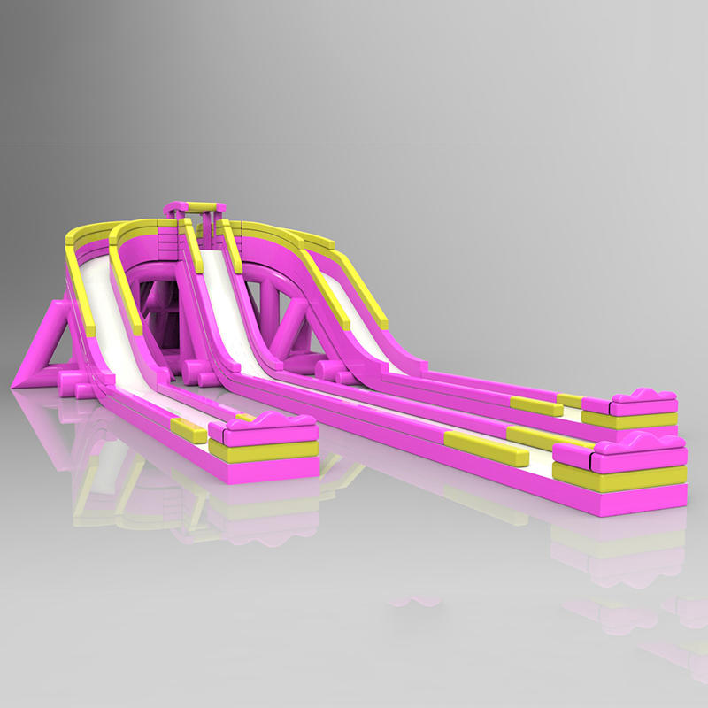 Pink inflatable multi-channel slide