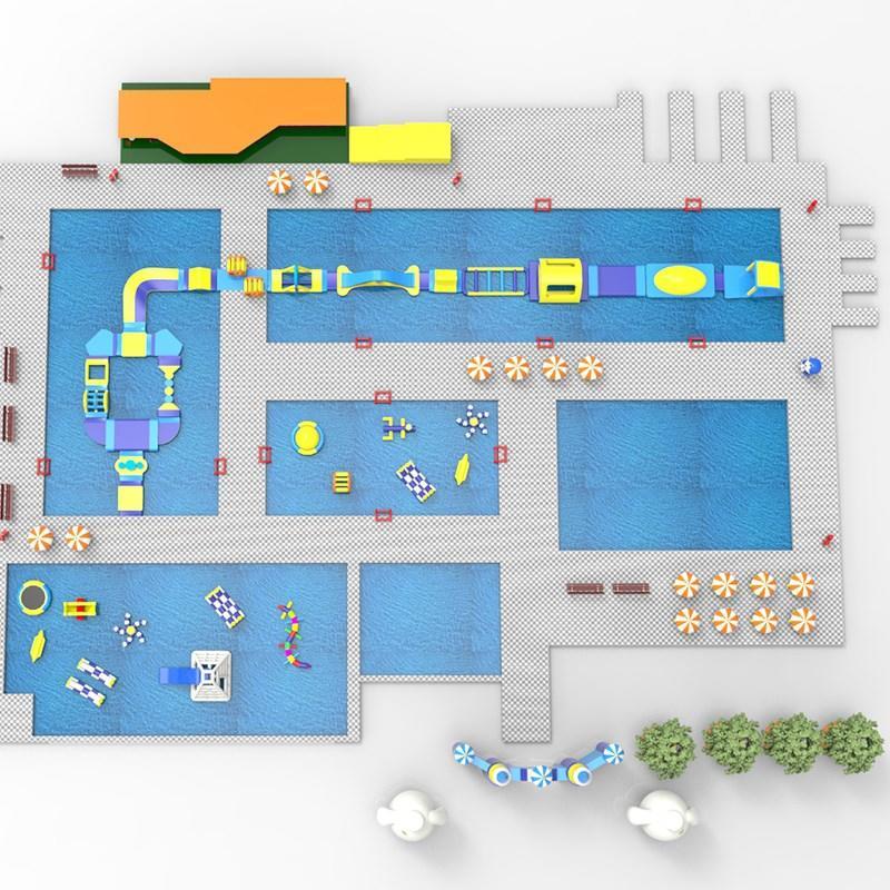 slide pool combination inflatable water parks manufacturer for amusement park