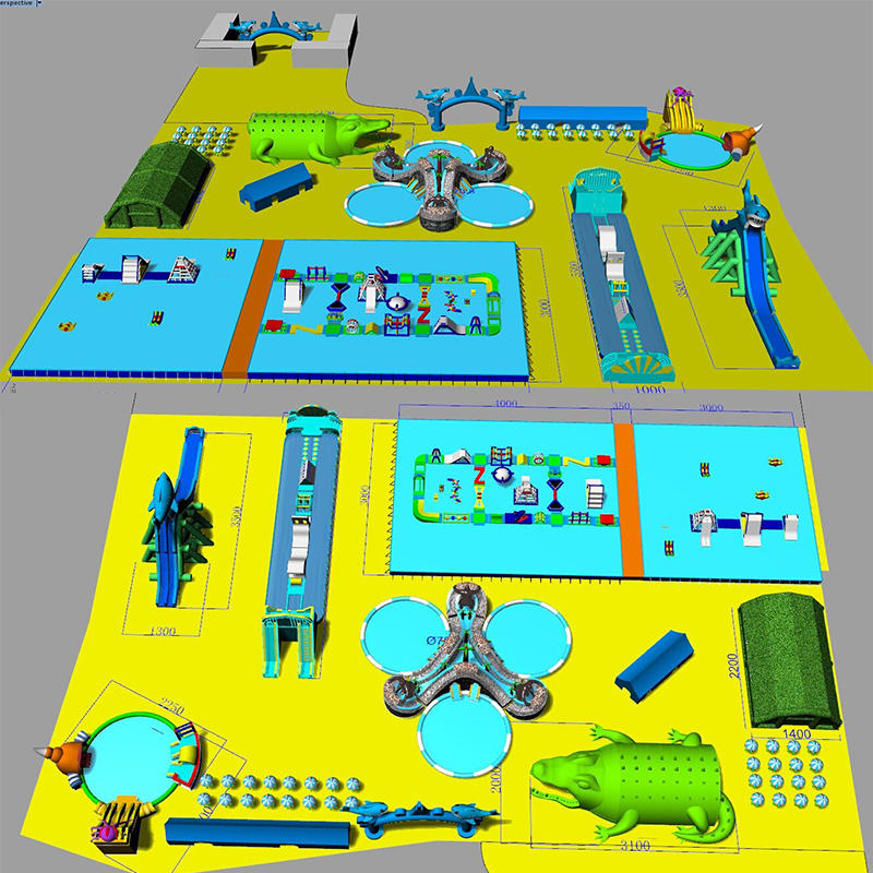 Customized land inflatable water park