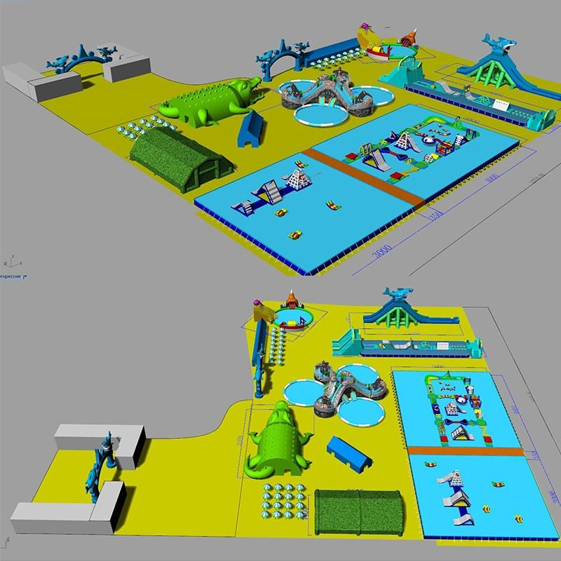 large inflatable water playground animal modelling for seaside KK INFLATABLE