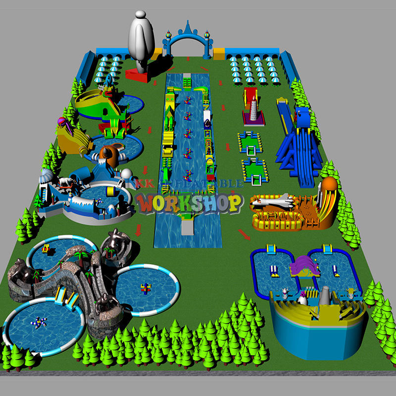 The land giant inflatable pool park