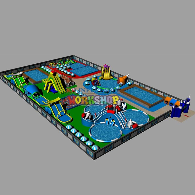 KK INFLATABLE cartoon inflatable water parks good quality for paradise