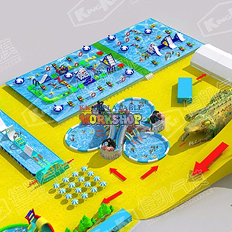 hot selling kids inflatable water park manufacturer for seaside KK INFLATABLE