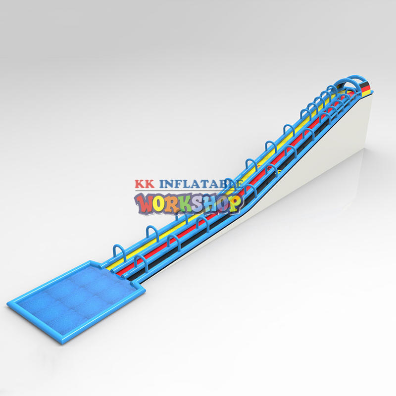 Elongated inflatable water slide