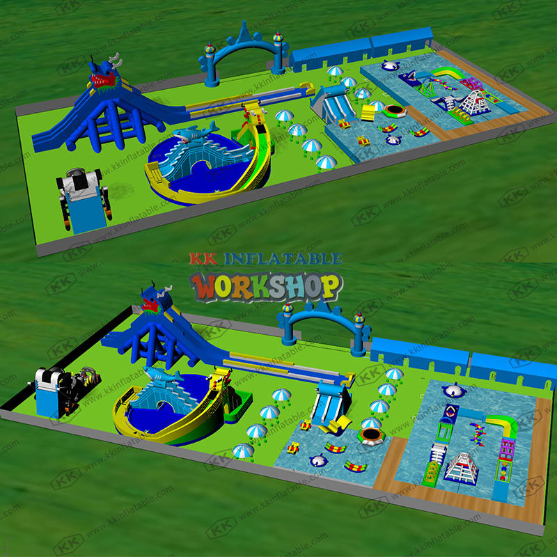 Inflatable water park supporting