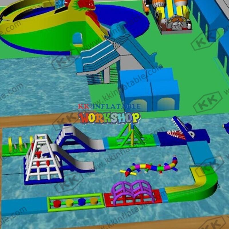 kids inflatable water park slide pool combination for seaside KK INFLATABLE