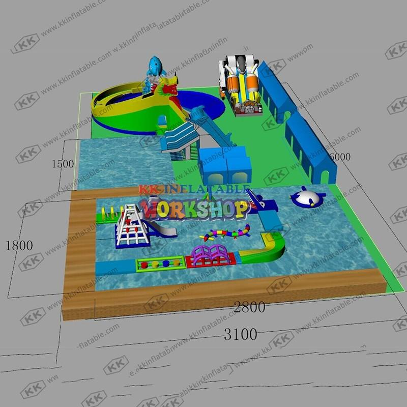 cartoon inflatable water parks supplier for children