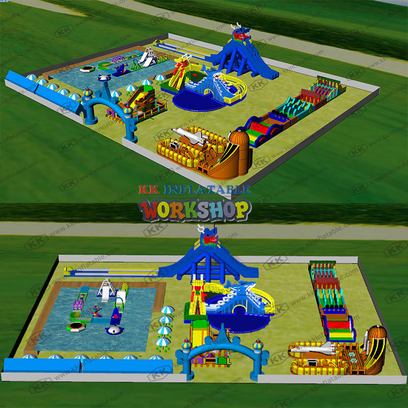 Large-scale combined water park