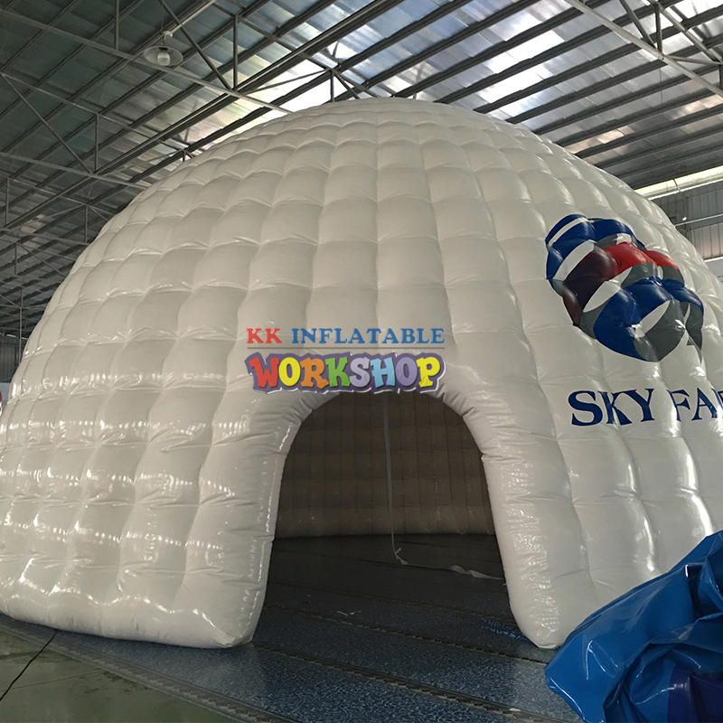 White inflatable domed tent