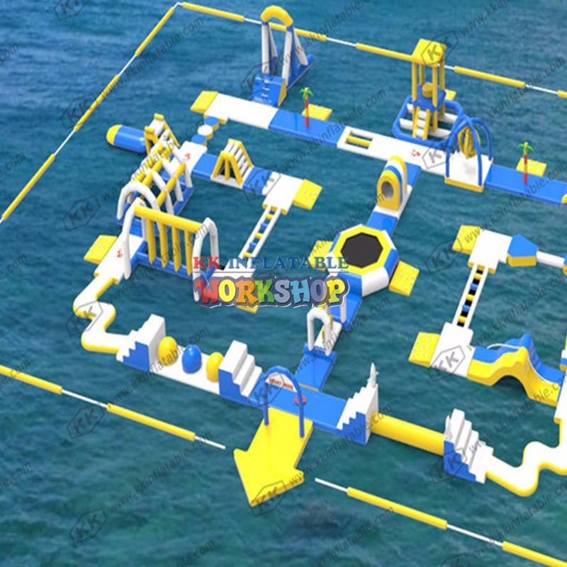 kids inflatable water park blue for children KK INFLATABLE