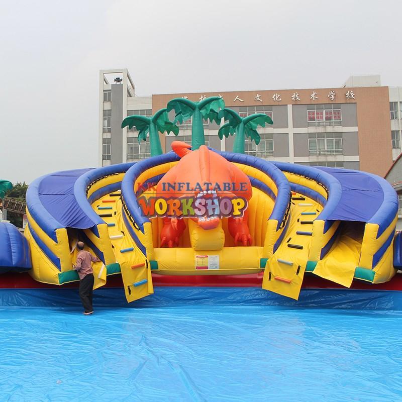 dinosaur kids inflatable water park cartoon for beach KK INFLATABLE