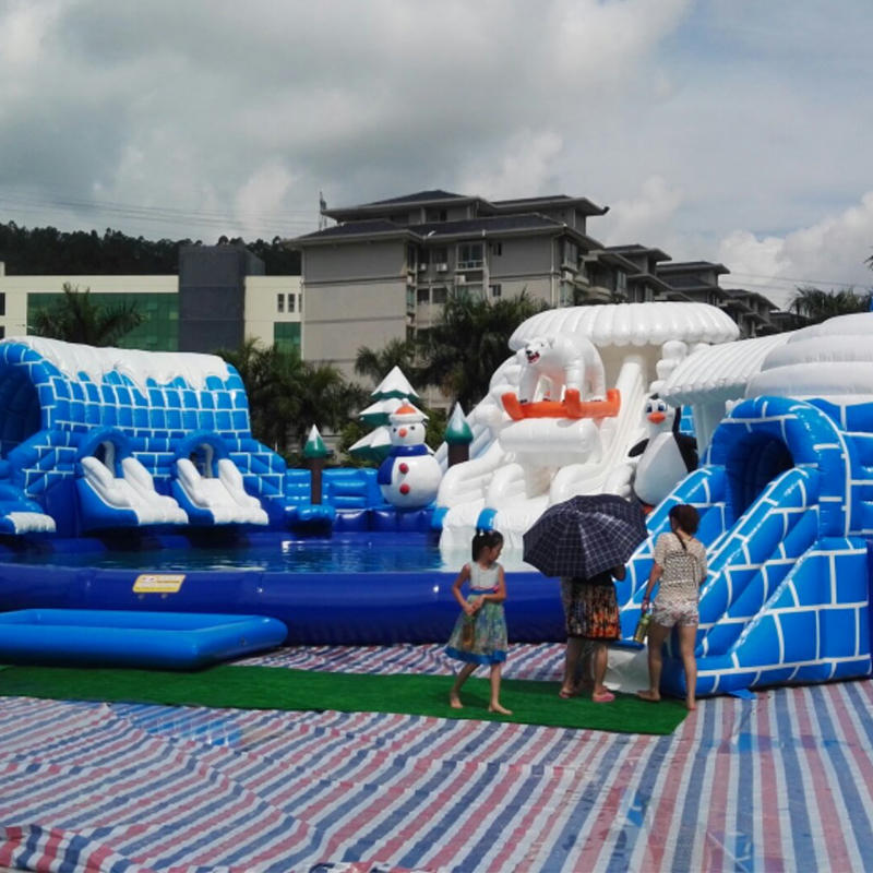 Snow theme inflatable water park