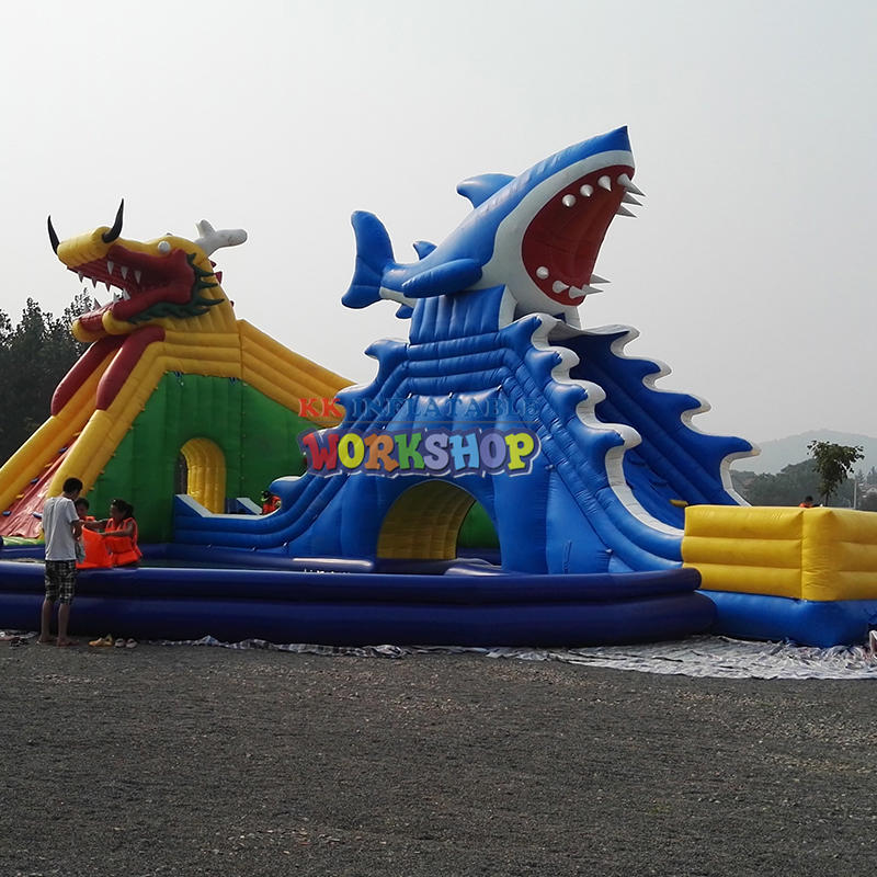Extended inflatable water slide
