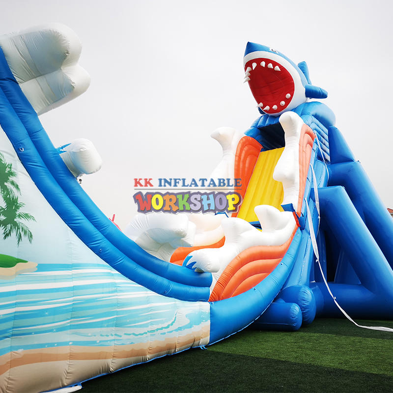Inflatable giant shark water slide