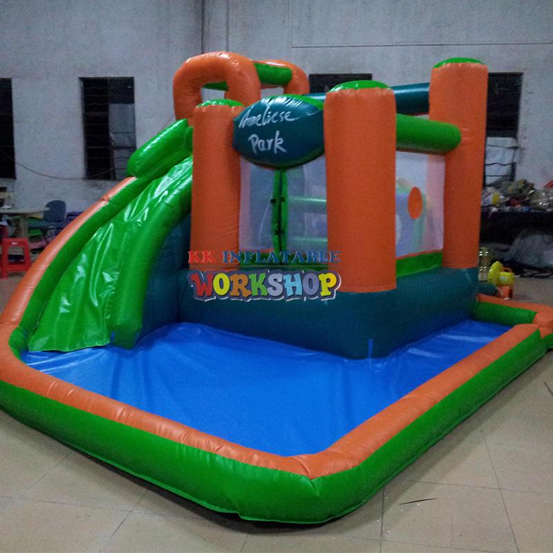 Inflatable slide pool combination