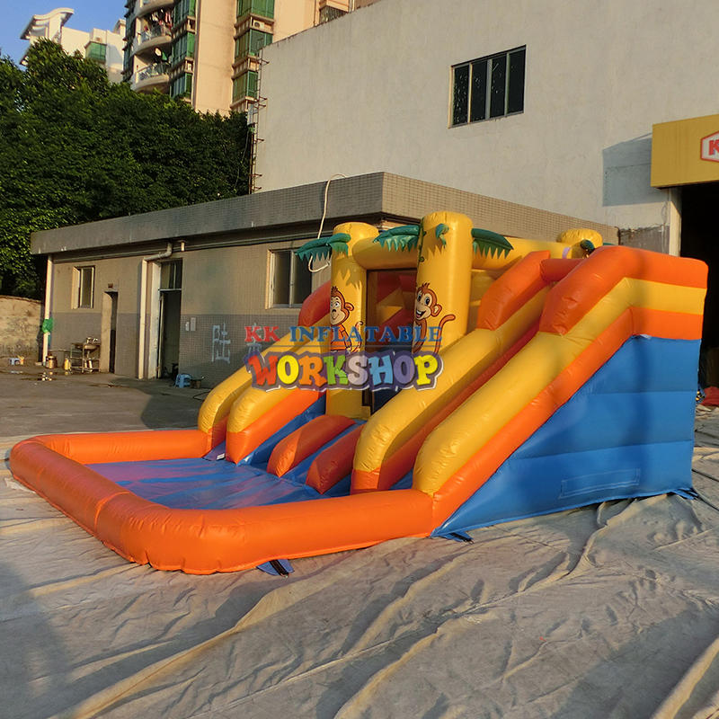 Climbing inflatable water slide combination