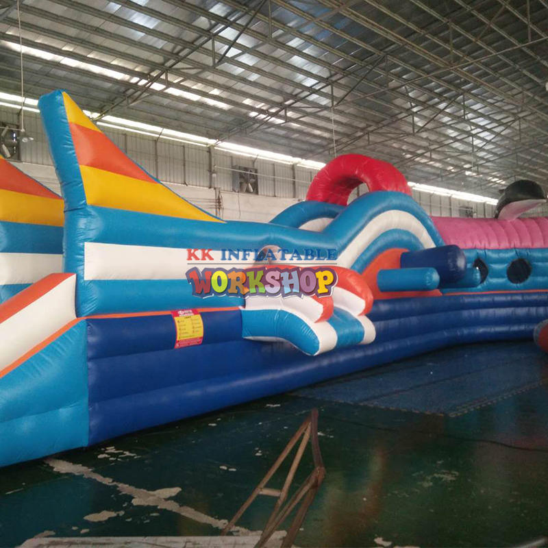 Theme inflatable pool water park, giant water slide with detachable pool