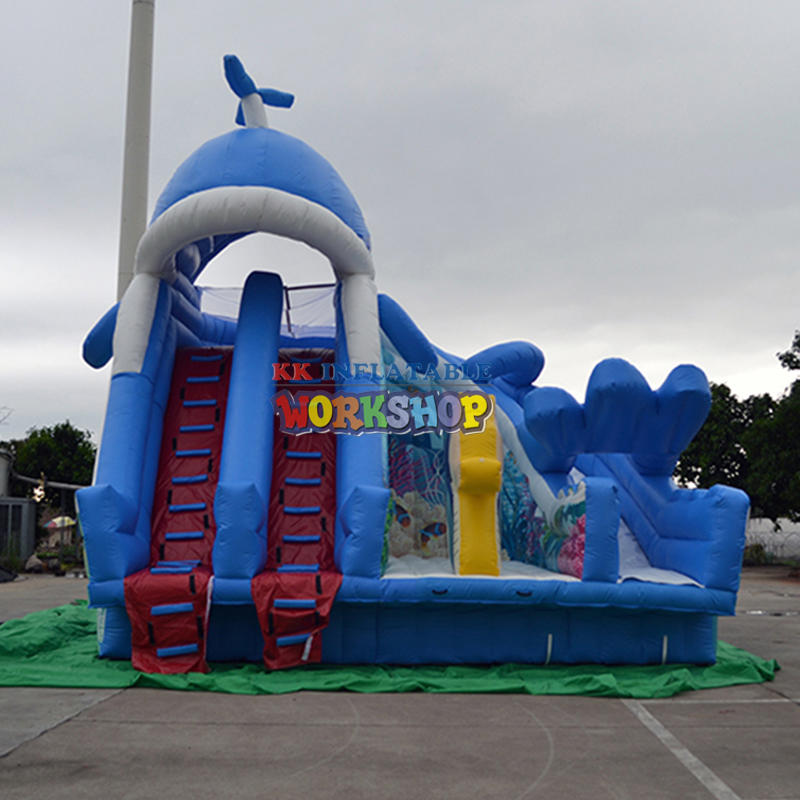 Whale baby inflatable water slide for frame swimming pool
