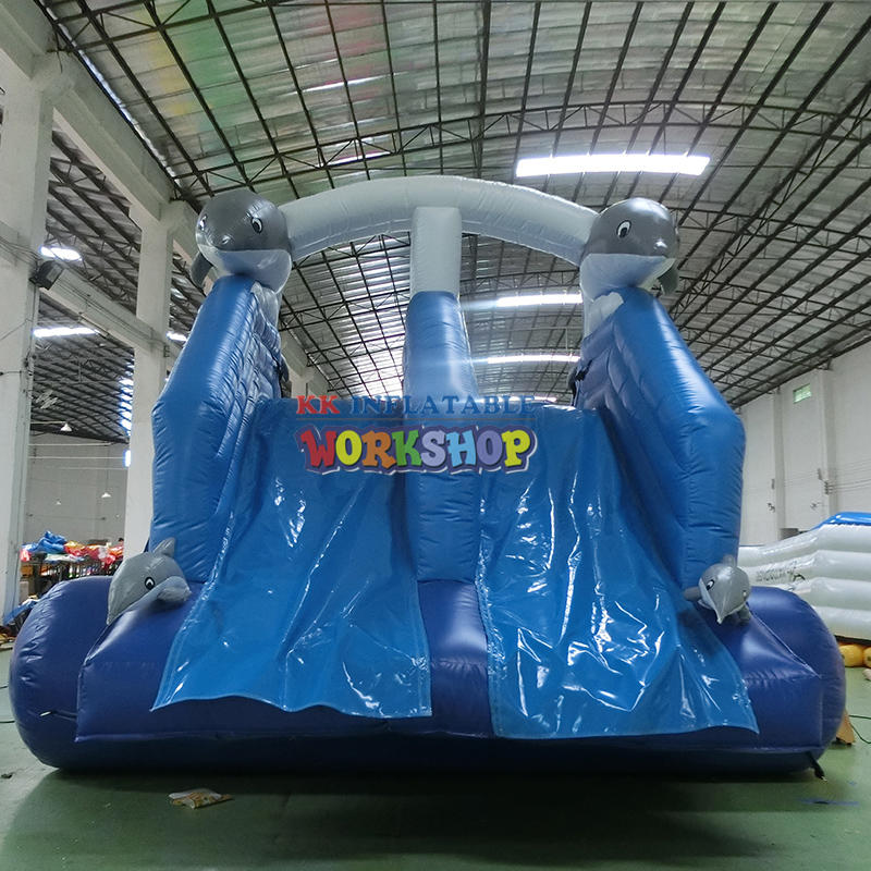 dophin blue inflatable slide commercial inflatable water slides