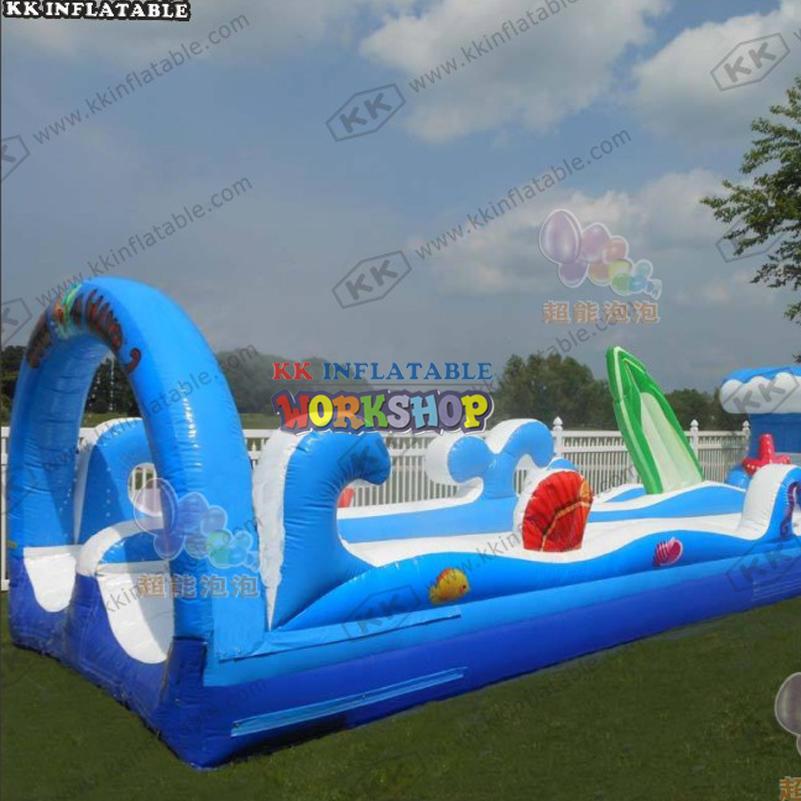 Park equipment lovely surf wave inflatable water slide double lane slip n slide