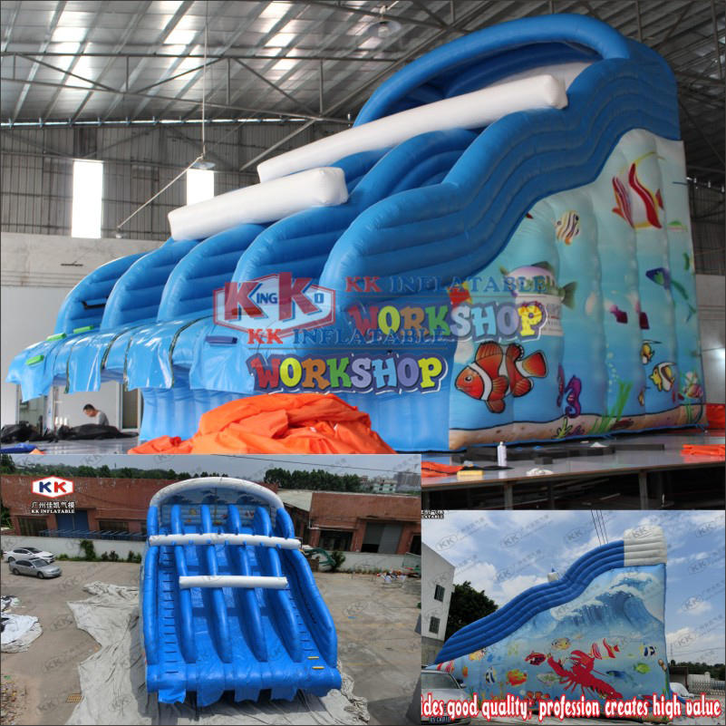 Large Frame Pool Ocean Themed Four Lanes Inflatable Water Slide For Adult