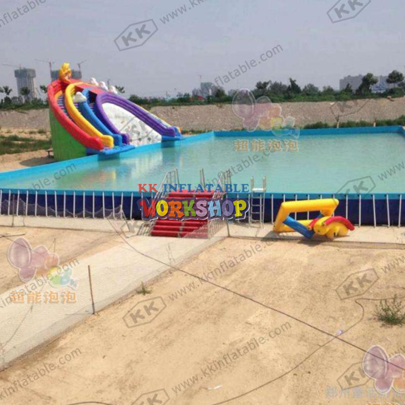 Eco-friendly Rainbow Inflatable Water Slides Commercial mobile water slide with frame pool