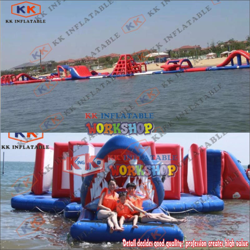 Outdoor water flushing inflatable floating park