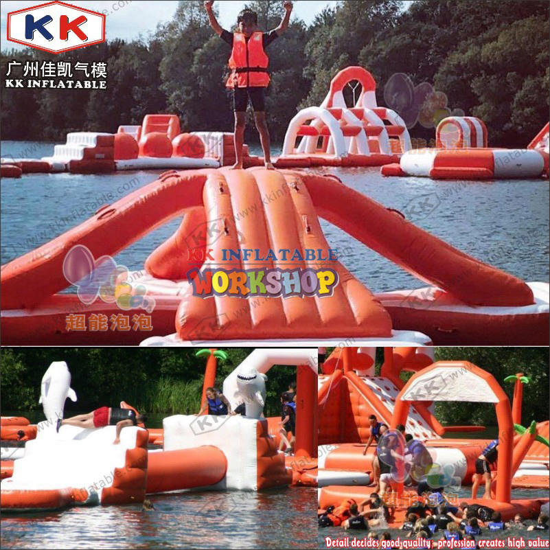 Floating inflatable toys on the water