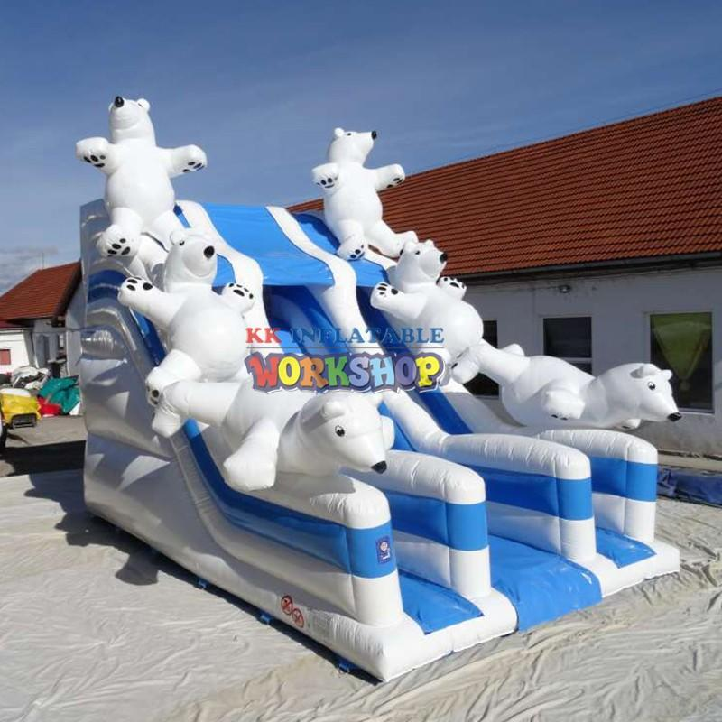 KK INFLATABLE heavy duty cheap water slides fire truck shape for swimming pool