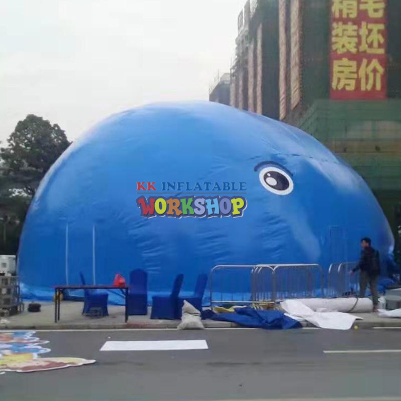 Large inflatable whale island park