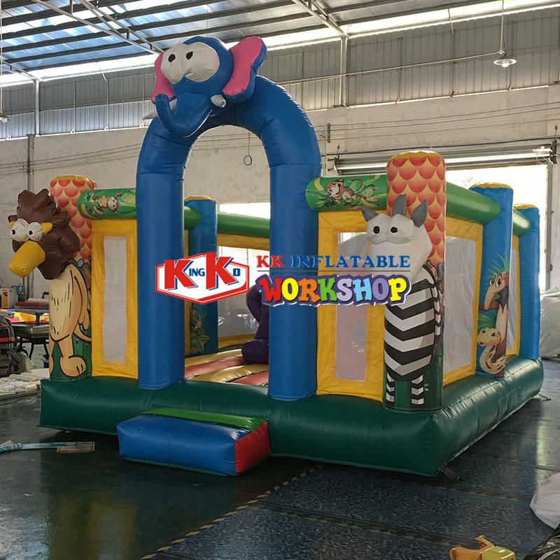 inflatable bounce house with small slide