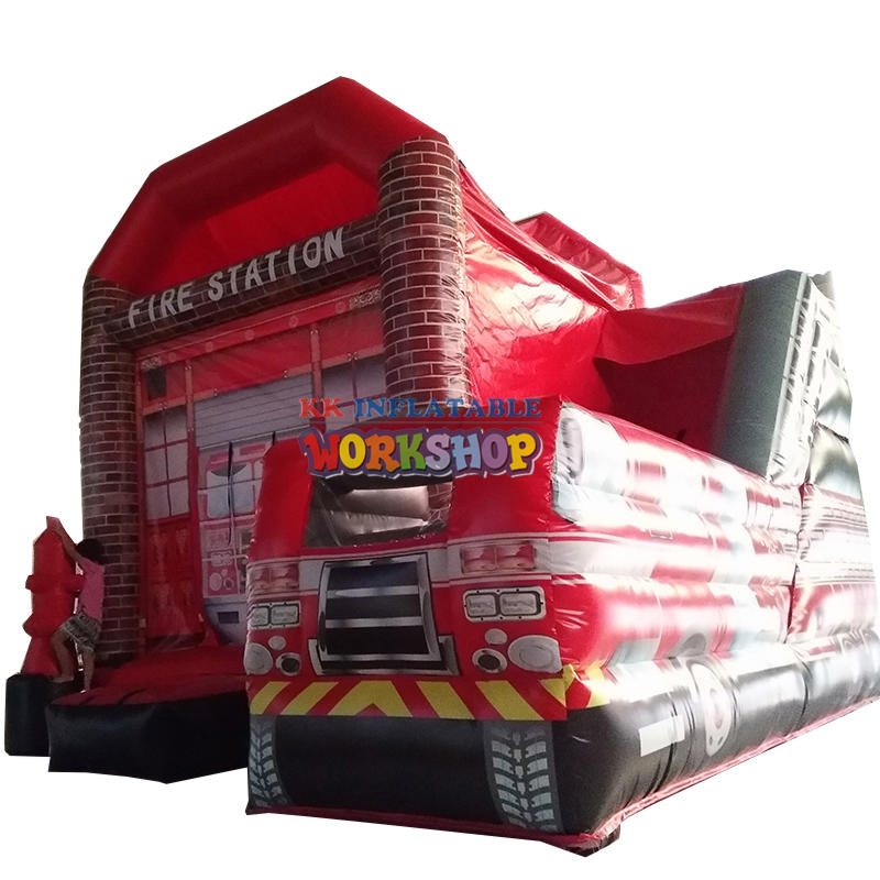 Residential house fire station commercial use inflatable combo
