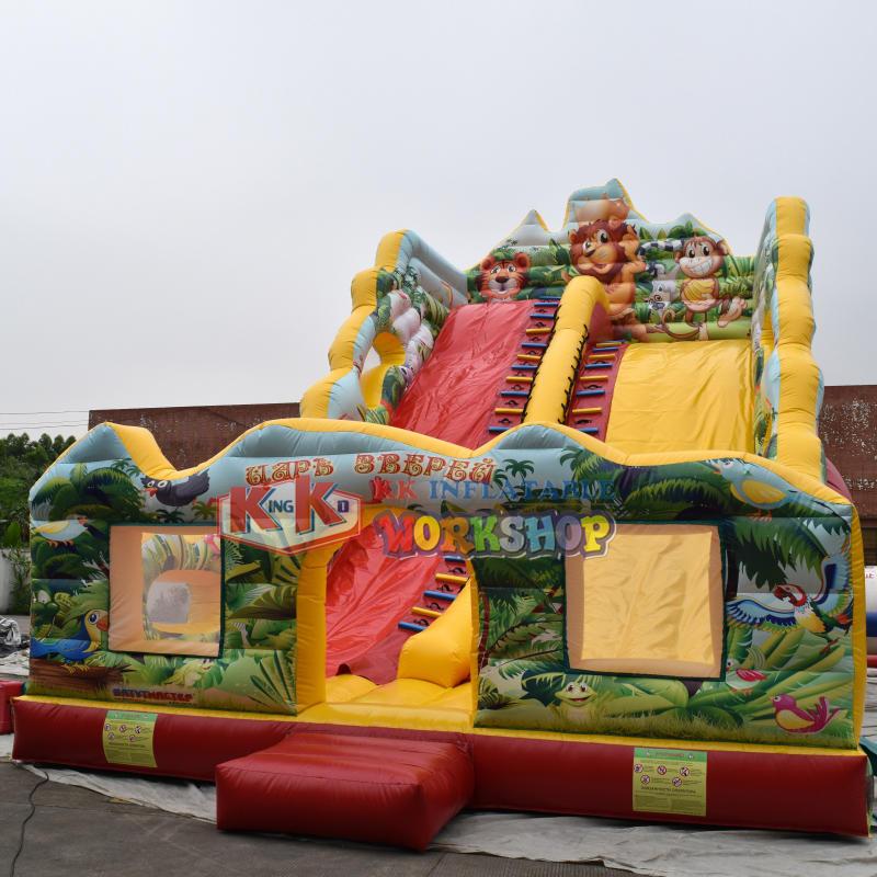 HD Printing Jungle Wet Dry Air Inflatable Bouncy Slide