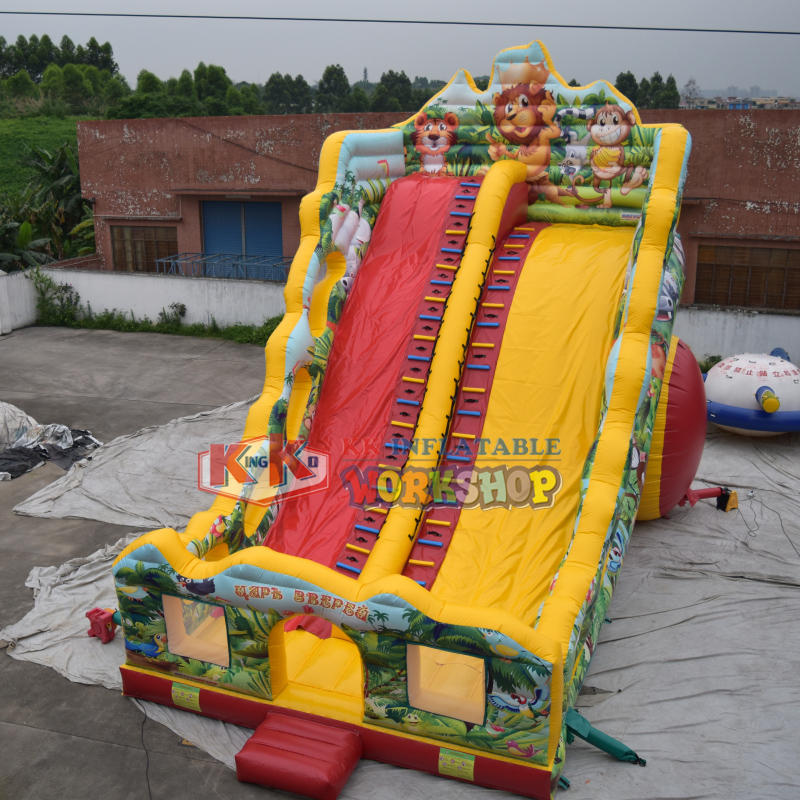 HD Printing Jungle Wet Dry Air Inflatable Bouncy Slide