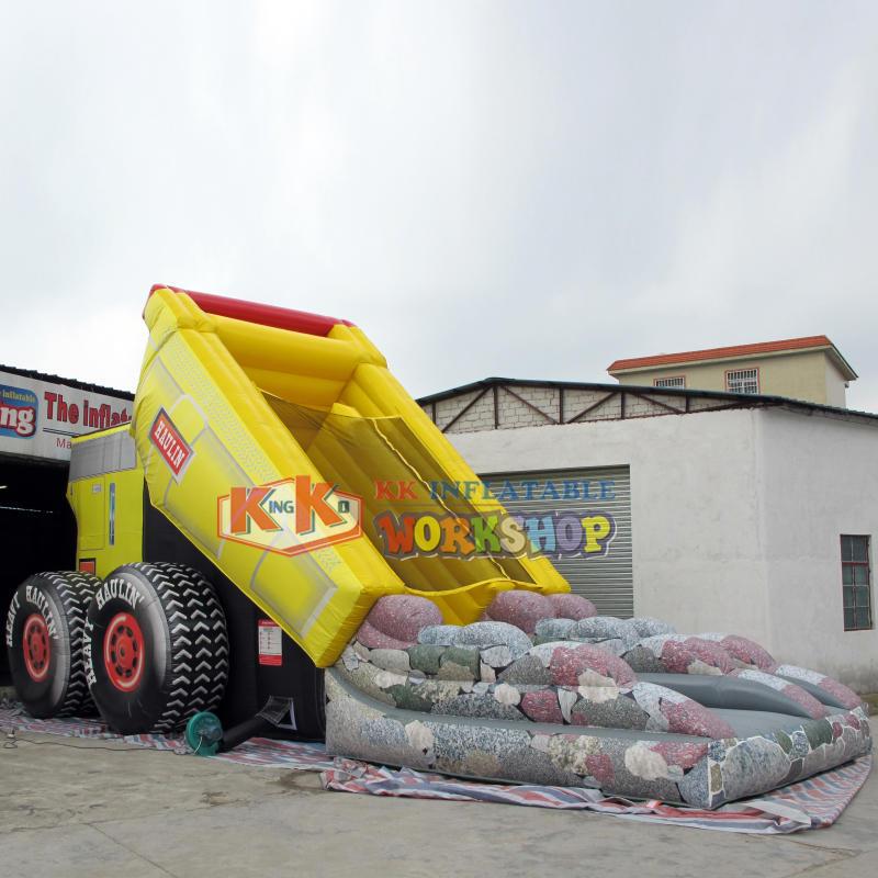 Customize inflatable garbage truck slide/dump car inflatable slide jumping/giant truck inflatable slide