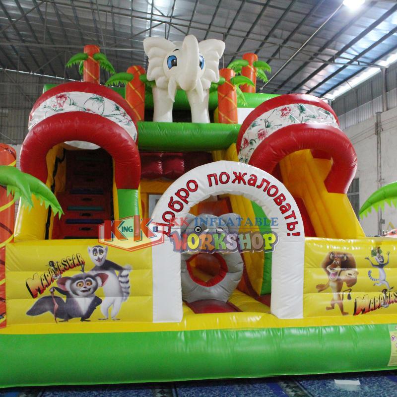 Inflatable Safari Park Bouncy Slide / PVC Inflatable Elephant Bouncer Colourful Slide Trampoline