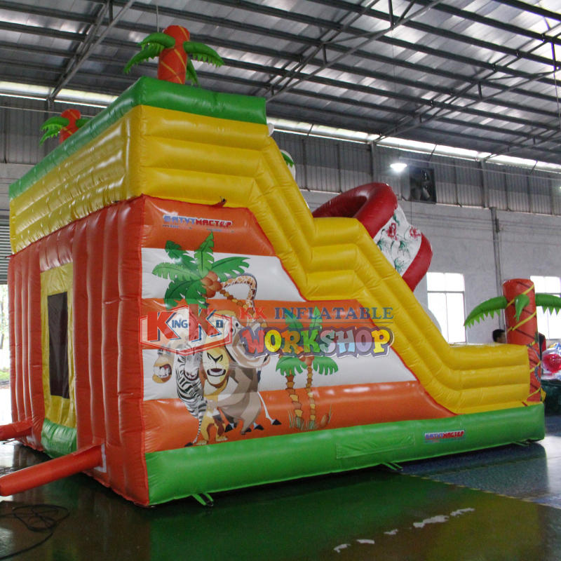 Inflatable Safari Park Bouncy Slide / PVC Inflatable Elephant Bouncer Colourful Slide Trampoline