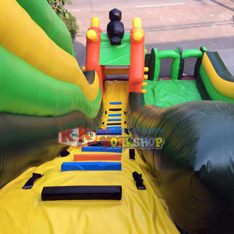 Outdoor adventure jungle theme inflatable slide for kids playground