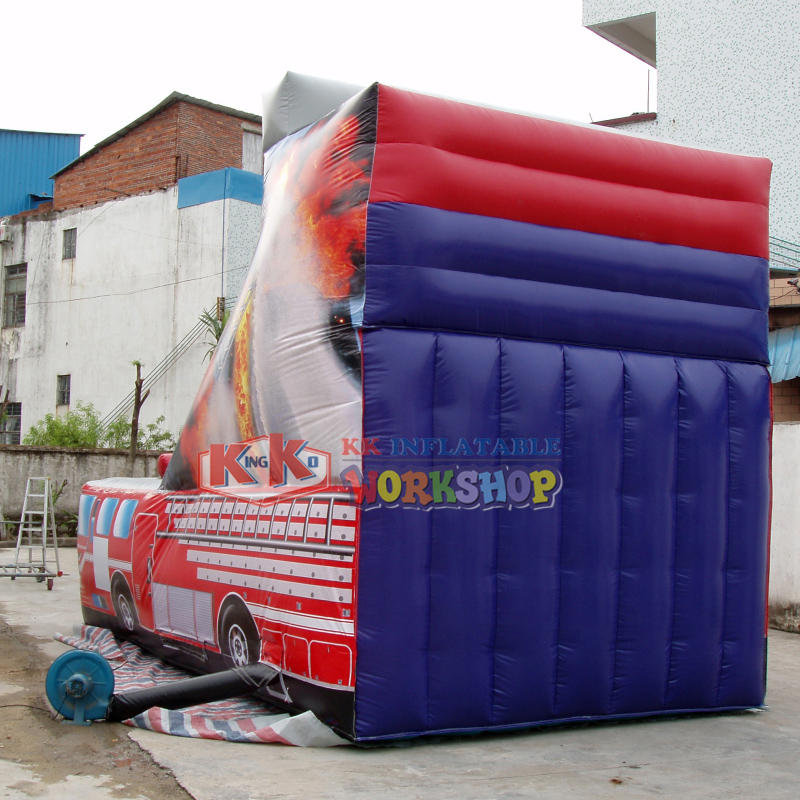 Big Red Fire Truck Printed Inflatable Slide