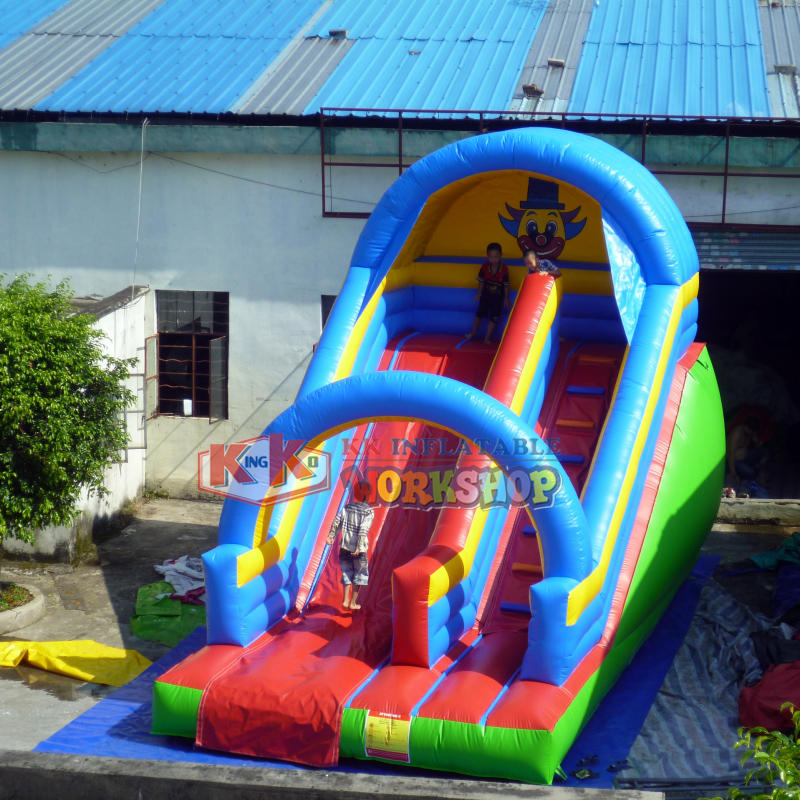 7x3.5x5m Juego Inflables Newest inflatable Clown theme slide single lane inflatable slide