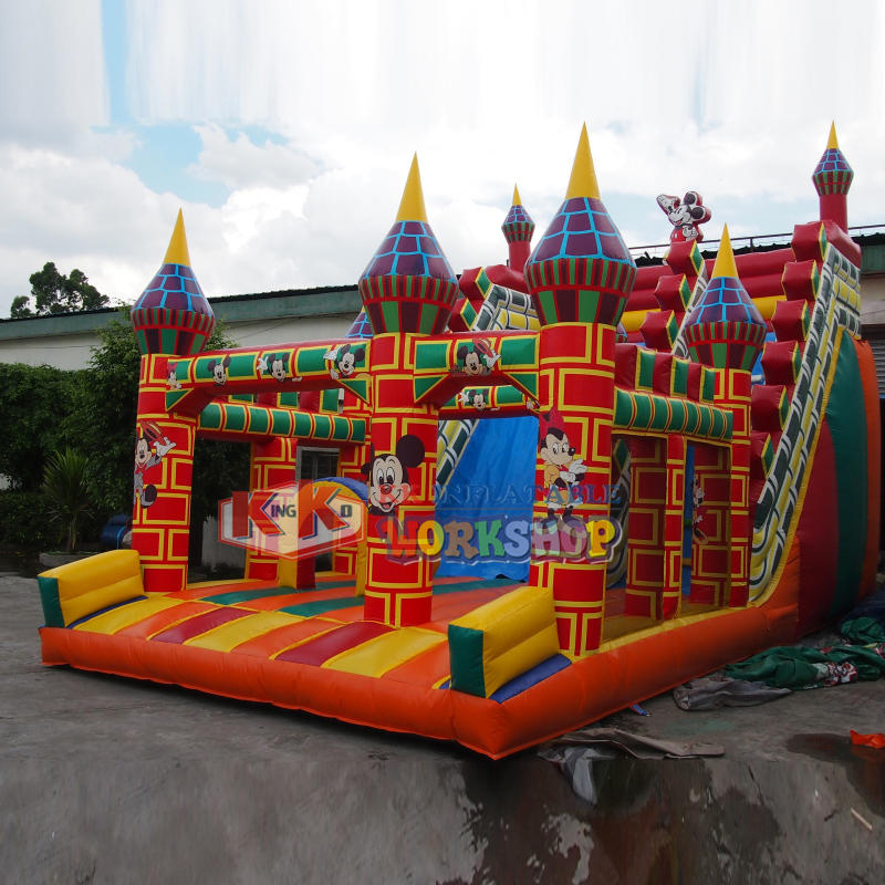 China Best 0.55MM PVC inflatable brick castle slide