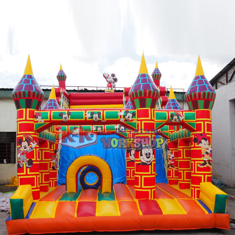 China Best 0.55MM PVC inflatable brick castle slide